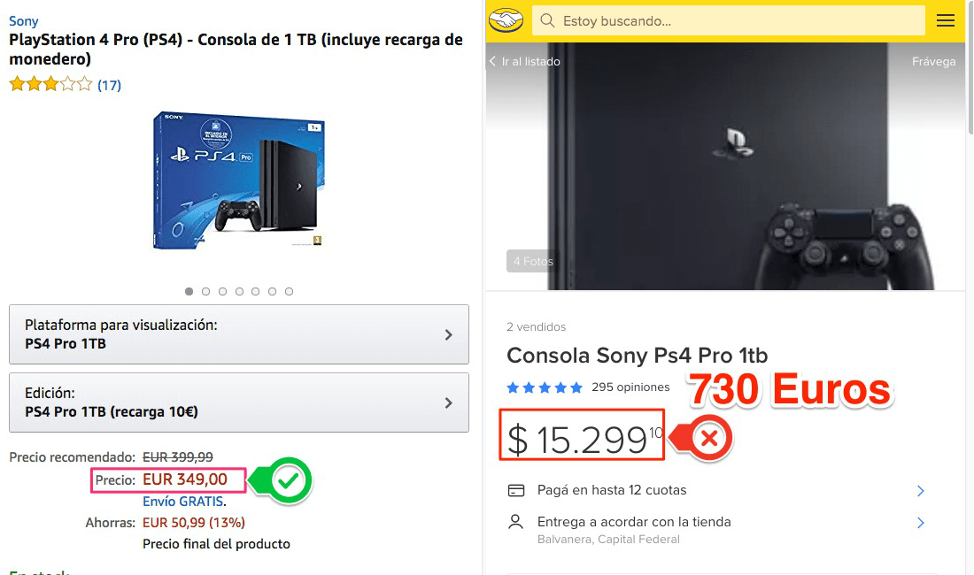 Comparacion de Play Station PRO 4 - Mercadolibre vs Amazon.es